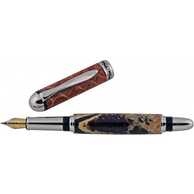 Alligator bone / leather fountain pen ALPEN01-P Tan