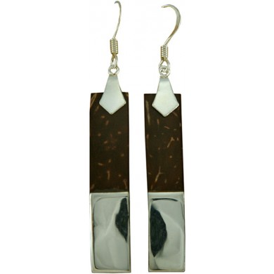 Coconut shell with sterling silver inlay earrings E912