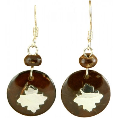 Coconut shell with sterling silver inlay earrings E932