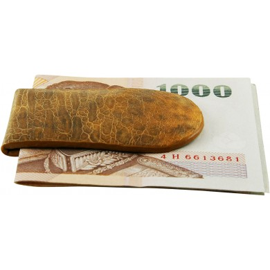 Genuine frog / toad leather money clip FROGMCLIP01 Tan