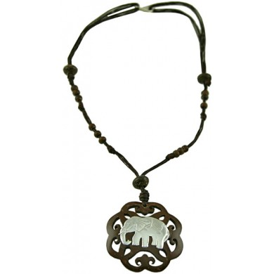 Coconut shell with sterling silver inlay necklace N101