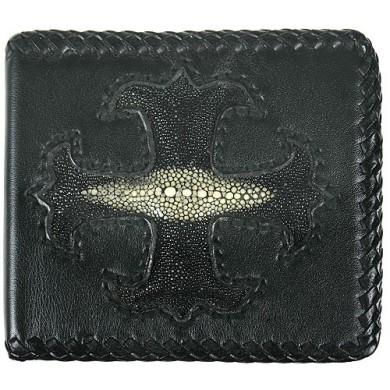 Genuine stingray and calf leather wallet NRSTW005S Black