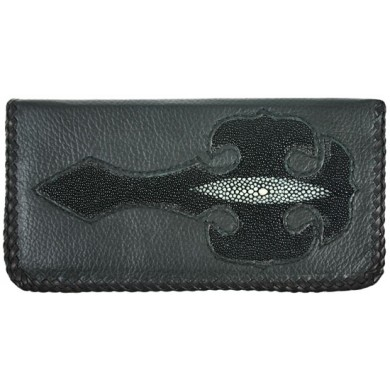 Genuine stingray and calf leather wallet NRSTW739L Black