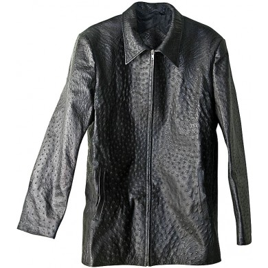 Genuine ostrich leather jacket OSJACKET01 Black