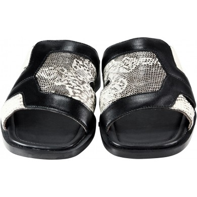 Genuine lizard and cow leather sandals SANDAL14LIZ Black / Natural