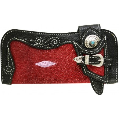 Genuine stingray and cow leather wallet STWLF461 Black / Red
