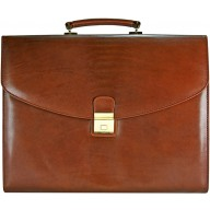 Genuine buffalo leather briefcase BBR075-G Brown
