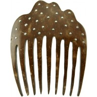 Coconut shell with sterling silver inlay comb CCOMB01S