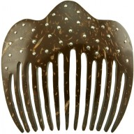 Coconut shell with sterling silver inlay comb CCOMB02L