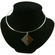 Coconut shell with sterling silver inlay necklace CN119E