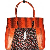 Genuine python and stingray leather bag JSNB055PT-ST Red / P031