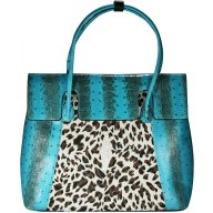 Genuine python and stingray leather bag JSNB055PT-ST Turquoise / P032