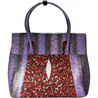 Genuine python and stingray leather bag JSNB055PT-ST Violet / P033