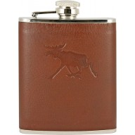 Genuine moose leather covered flask MOOSEFL476 Brown