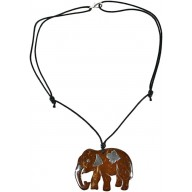 Coconut with silver inlay necklace N104