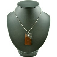 Coconut shell with sterling silver inlay necklace N117