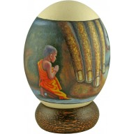 Genuine ostrich hand painted egg OSEGG002PT-01