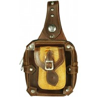 Genuine ostrich and cow leather belt bag OSPLP560 Brown / Tan