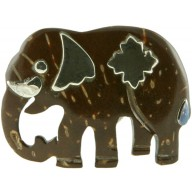 Coconut shell with sterling silver inlay pin P523S