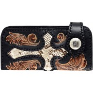 Genuine python and cow leather wallet PTWLF800 Black / Brown