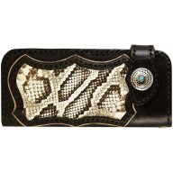 Genuine python and cow leather wallet PTWLF821 Brown / Natural