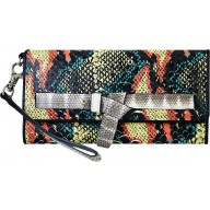 Genuine python leather clutch wallet PYTCW01PP Green / Red / Yellow