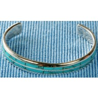 Sterling silver bangle with turquoise inlay SBANGLE001