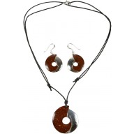 Coconut with silver inlay necklace & earrings set SN112/1SET