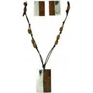 Coconut shell with sterling silver inlay set SN154SET