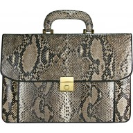 Genuine python leather briefcase SNA046-G-PT Natural