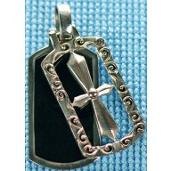 Sterling silver pendant with onyx inlay SPENDANT001-1
