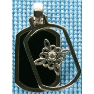 Sterling silver pendant with onyx inlay SPENDANT008-1