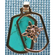 Sterling silver pendant with turquoise inlay SPENDANT008-2