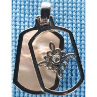 Sterling silver pendant with pink shell inlay SPENDANT008-3