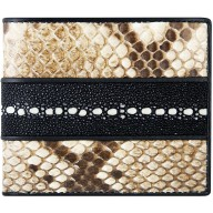 Genuine python and stingray leather wallet STPTW095 Black / Natural