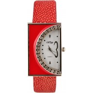 Fashion watch with stingray leather watch band STWACT14 Fire Red