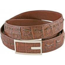 Genuine alligator leather belt 102CKP-PL Brown