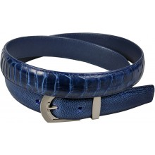 Genuine ostrich leather belt 102OS Midnight Blue