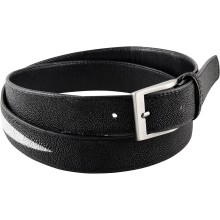 Genuine stingray leather belt 102RP Black