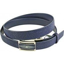 Genuine stingray leather belt 102RPB Blue