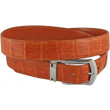 Genuine alligator leather belt 102SMT Tan