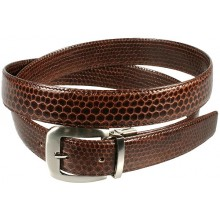Genuine snake leather belt 102SN Brown