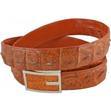 Genuine alligator leather belt 105CKP-PL Tan