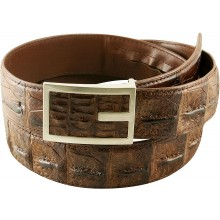Genuine alligator leather belt 105CKP-PL Brown