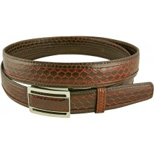 Genuine snake leather belt 136SN Cognac-Brown