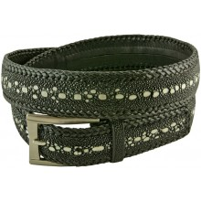 Genuine stingray leather belt 143QK Black