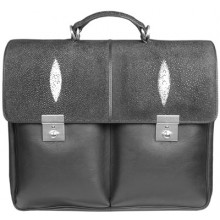 Genuine stingray and cow leather briefcase 3-8137 Black
