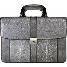 Genuine stingray leather briefcase A046-01SA Black