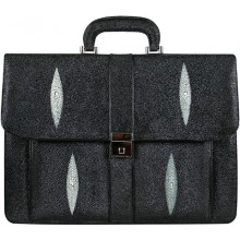 Genuine stingray leather briefcase A046 Black