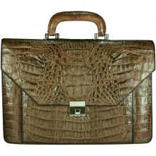 Genuine alligator leather briefcase AL046-S Brown